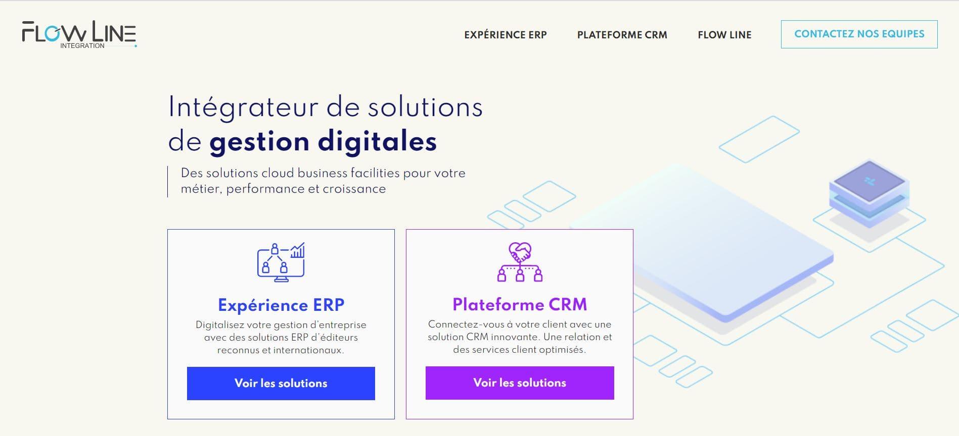 site internet intégrateur ERP Flow Line